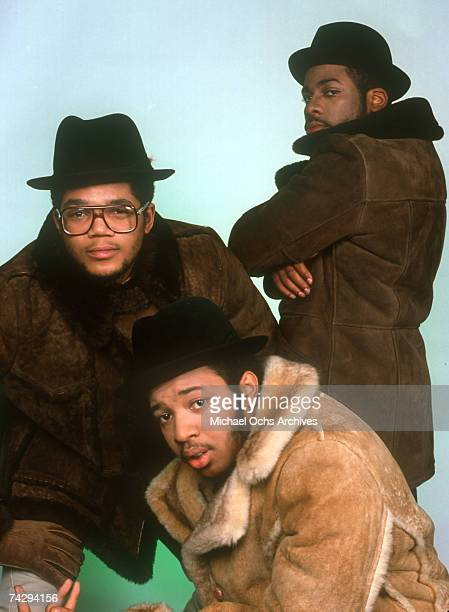 Joseph Simmons Darryl McDaniels and Jam Master Jay of the hiphop group 'Run DMC' pose for a studio portrait session in 1985 in New York New York