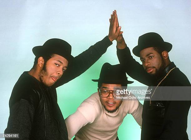 Joseph Simmons Darryl McDaniels and Jam Master Jay of the hiphop group Run DMC pose for a studio portrait session in 1985 in New York New York