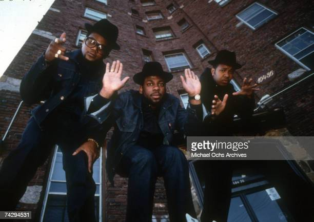 Joseph Simmons Darryl McDaniels and Jam Master Jay of the hiphop group Run DMC pose for a portrait in circa 1986 in New York New York
