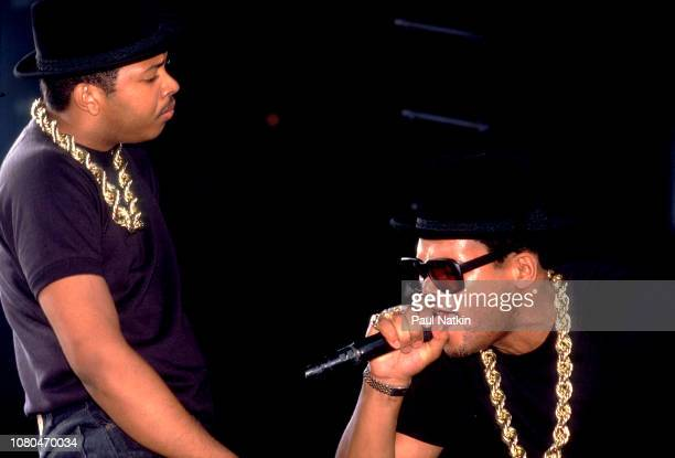 Joseph Simmons left and Darryl McDaniels of Run DMC perform on stage at Madison Square Garden in New York New York August 17 1987