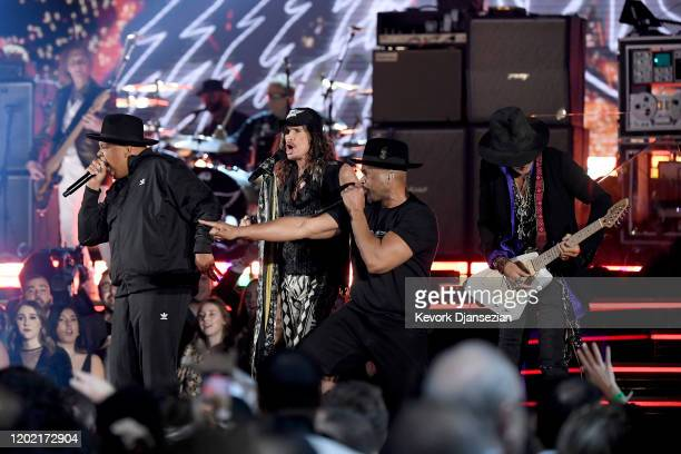 Joseph Simmons, Steven Tyler, Darryl McDaniels and Joe Perry perform onstage during the 62nd Annual GRAMMY Awards at Staples Center on January 26,...