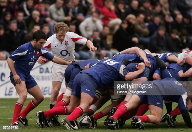 Joseph Simpson of England U19 stands next to the pack during the match between France U19 and England U19 at Souston on March 11 2006 in Souston...