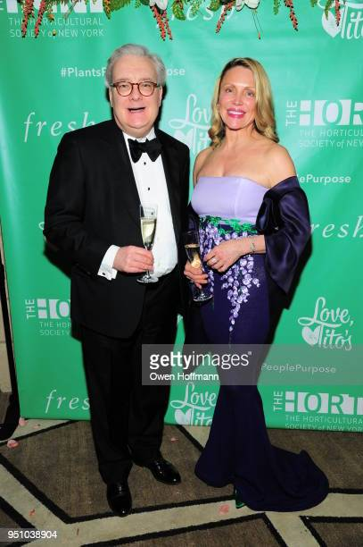 Joseph Smith and Roxane West attends The Hort's New York Flower Show Dinner Dance at The Pierre Hotel on April 24 2018 in New York City