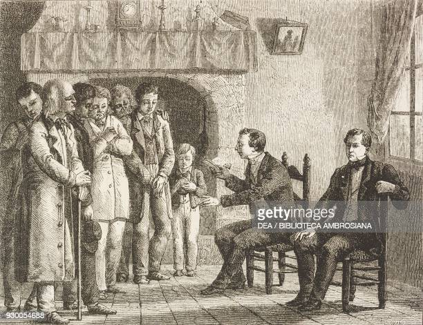 Joseph Smith , the founder of Mormonism, reading the Book of Mormon to his first followers, United States of America, drawing by David from a sketch...