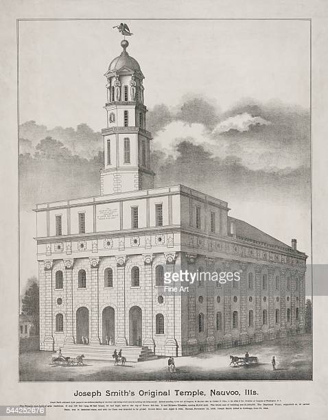 Joseph Smith's Original Temple Nauvoo Illinois published by State Lith Eng Co lithograph showing exterior view of the Mormon temple building in...