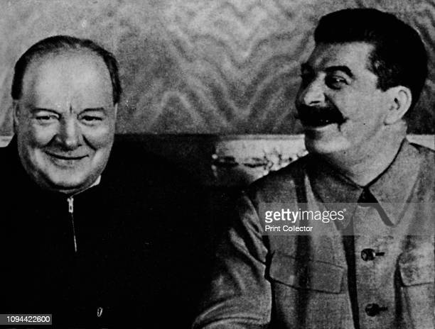 Joseph Stalin and Mr. Churchill ', . British Prime Minister Winston Churchill with Russian leader Joseph Stalin during a visit to Russia in World War...
