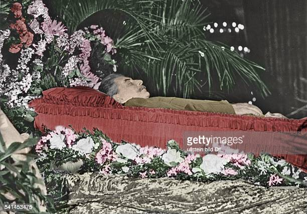 ' Joseph Stalin Russian politicianLaid out body of the dictator Picture later colorized