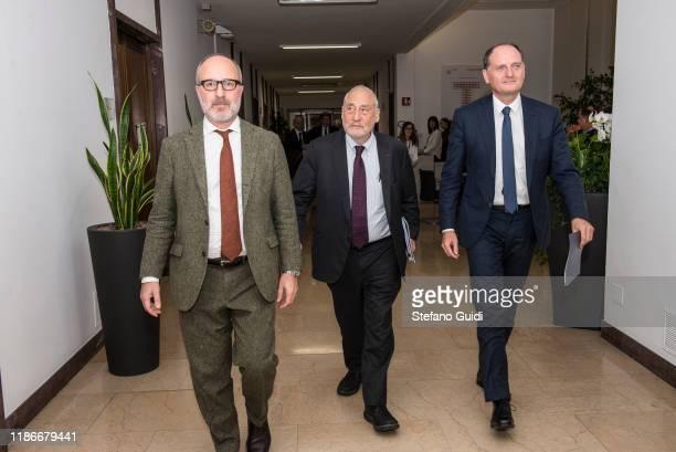 Joseph Stiglitz and Guido Saracco during of Laurea Honoris Causa Joseph Stiglitz on the Festival della Tecnologia on November 07, 2019 in Turin,...