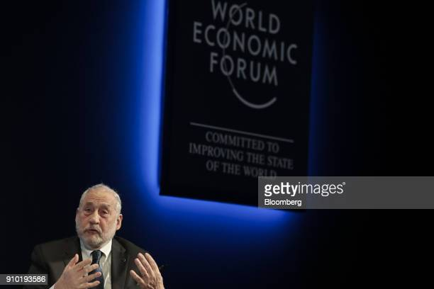 Joseph Stiglitz economics professor at Columbia University gestures as he speaks during a panel session on day three of the World Economic Forum in...