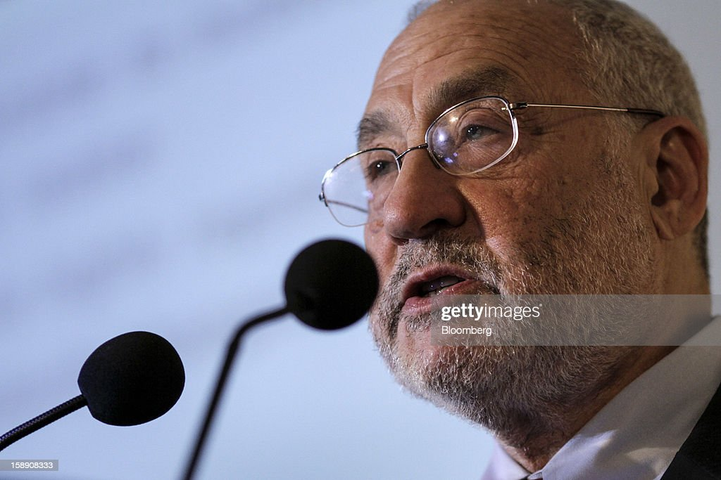 Joseph Stiglitz, Nobel prize-winning economist and professor of economics at Columbia University, speaks during the C.D. Deshmukh Memorial Lecture in Mumbai, India, on Thursday, Jan. 3, 2013. India's current-account deficit widened to $22.31 billion in the three months to Sept. 30 as a faltering global economy hurt exports, the Reserve Bank of India said Dec. 31. Photographer: Dhiraj Singh/Bloomberg via Getty Images