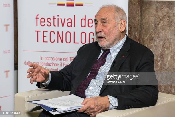Joseph Stiglitz on press interview during of Laurea Honoris Causa Joseph Stiglitz on the Festival della Tecnologia on November 07, 2019 in Turin,...