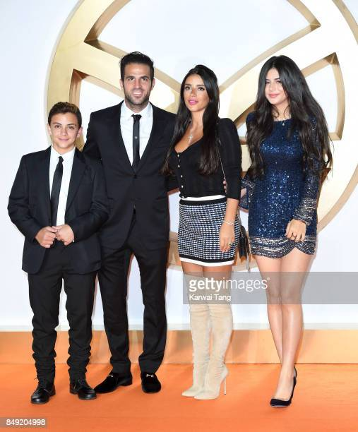 Joseph Taktouk, Cesc Fabregas, Daniella Semaan and Maria Taktouk attend the 'Kingsman: The Golden Circle' World Premiere at Odeon Leicester Square on...