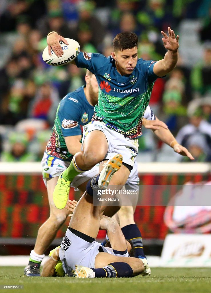 Joseph Tapine of the Raiders maeks a line break during the round 17 NRL match between the Canberra Raiders and the North Queensland Cowboys at GIO Stadium on July 1, 2017 in Canberra, Australia.