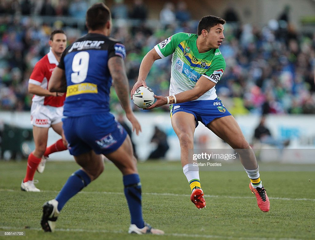 Joseph Tapine of the Raiders runs the ball during the round 12 NRL match between the Canberra Raiders and the Canterbury Bulldogs at GIO Stadium on May 29, 2016 in Canberra, Australia.