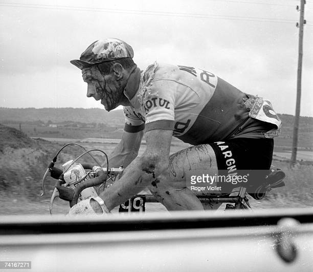 Joseph Thomin French racing cyclist bleeding after being injured during the Tour de France 1962