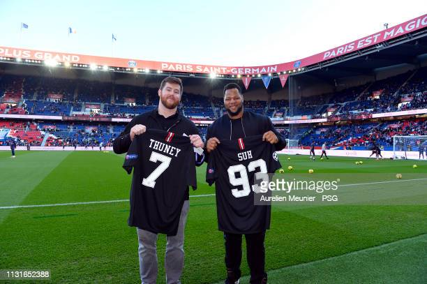 Joseph Thuney of New England Patriots and Ndamukong Suh of the Los Angeles Rams attend the Ligue match between Paris SaintGermain and Nimes Olympique...