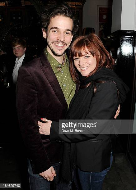 Joseph Timms and Finty Williams attend an after party following the press night performance of 'Peter And Alice' at The National Cafe on March 25...