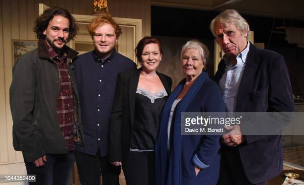 "Joseph Timms, Sam Williams, Finty Williams, Judi Dench and David Mills attend the press night after party for ""Pack Of Lies"" at The Menier Chocolate..."