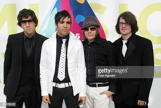 Joseph Trohman Pete Wentz Patrick Stump and Andrew Hurley of Fall Out Boy Boy arrive at the 2005 MTV Video Music Awards at the American Airlines...