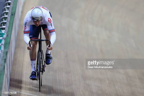 Joseph Truman of Great Britain competes in the Men's sprint qualifying race on day four of the UCI Track Cycling World Championships held in the BGZ...