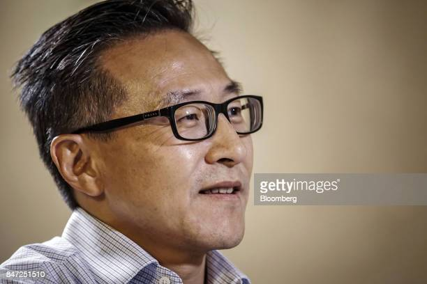 Joseph Tsai vice chairman of Alibaba Group Holding Ltd speaks during a Bloomberg Television interview at the company's headquarters in Hangzhou China...