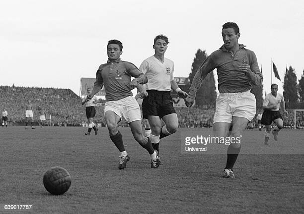 Joseph Ujlaki Roger Byrne and Jean Vincent during a friendly soccer match between France and England