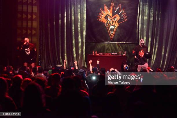 Joseph Utsler aka Shaggy 2 Dope and Joseph Bruce aka Violent J of Insane Clown Posse perform at The Regent Theatre on February 15 2019 in Los Angeles...