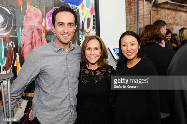 Joseph Varet Jane Glassman and Esther Kim Varet attend The Rema Hort Mann Foundation LA Artist Initiative Benefit Auction on November 21 2013 in Los...