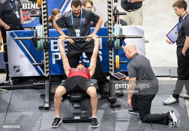 Joseph Veleno completes the bench press test during the NHL Scouting Combine on June 2 2018 at HarborCenter in Buffalo New York