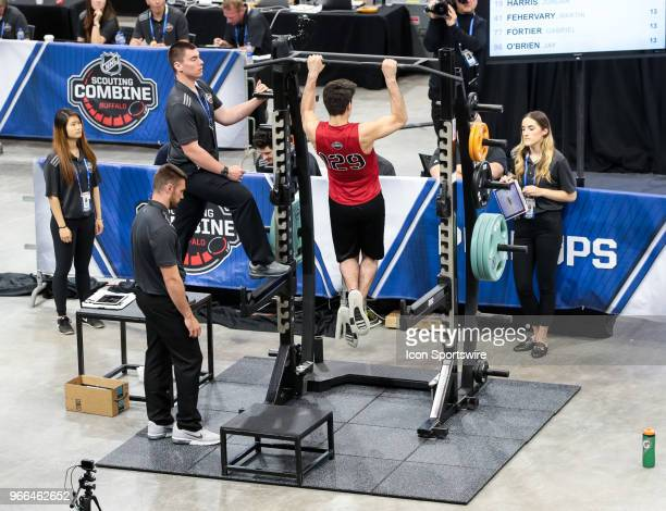 Joseph Veleno completes the pull ups test during the NHL Scouting Combine on June 2 2018 at HarborCenter in Buffalo New York