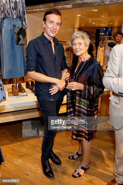 Joseph Velosa and Joan Burstein attend the book launch of Matthew Williamson Fashion Print Colouring by Laurence King Publishing at Anthropologie on...