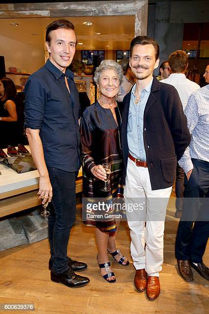 Joseph Velosa Joan Burstein and Matthew Williamson attend the book launch of Matthew Williamson Fashion Print Colouring by Laurence King Publishing...