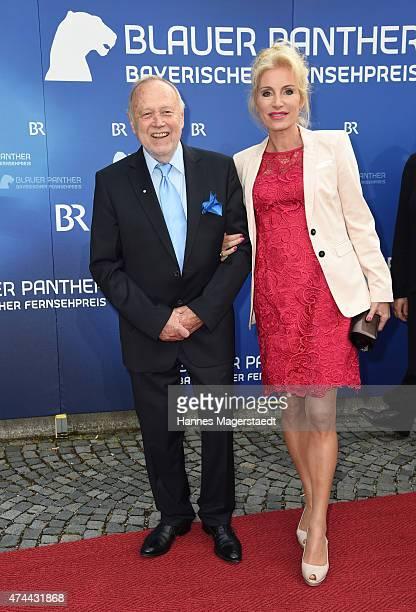 Joseph Vilsmaier and Birgit Muth arrive for the Bayerischer Fernsehpreis 2015 at Prinzregententheater on May 22, 2015 in Munich, Germany.