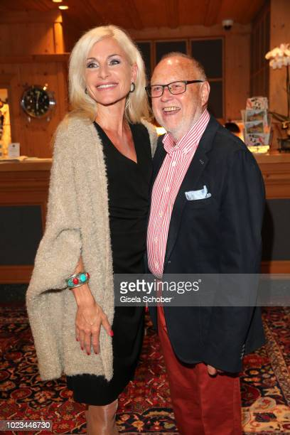 Joseph Vilsmaier and hig girlfriend Birgit Muth during the closing ceremony of the Kitzbuehel Film Festival at Hotel Reisch on August 25, 2018 in...