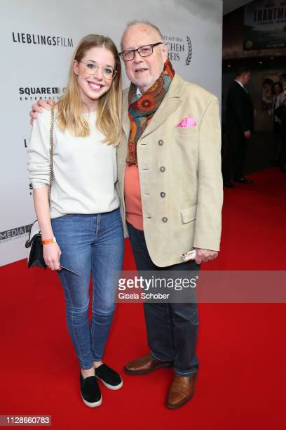 """Joseph Vilsmaier and his daughter Josefina Vilsmaier during the premiere of the film """"Trautmann"""" at Mathaeser Filmpalast on March 4, 2019 in Munich,..."""