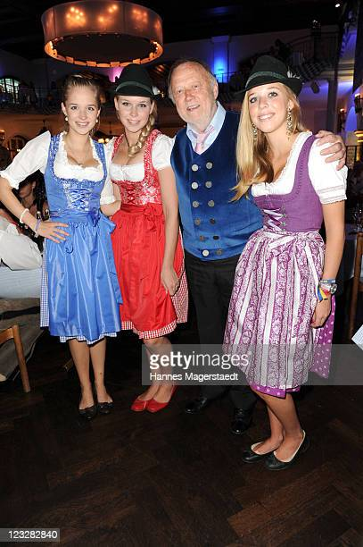 Joseph Vilsmaier and his daughters Theresa , Janina and Josefina attend the Angermaier Kicks Off Oktoberfest Season With 'Trachten-Nacht' on...