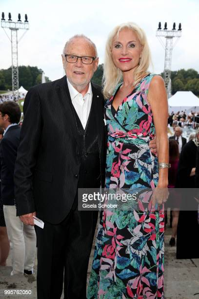 Joseph Vilsmaier and his girlfriend Birgit Muth during the Summer Reception of the Bavarian State Parliament at Schleissheim Palace on July 10 2018...