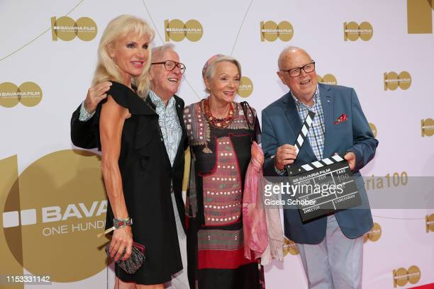 Joseph Vilsmaier and his partner Birgit Muth and Klaus Doldinger and his wife Inge Doldinger during the Bavaria Film Reception One Hundred Years in...