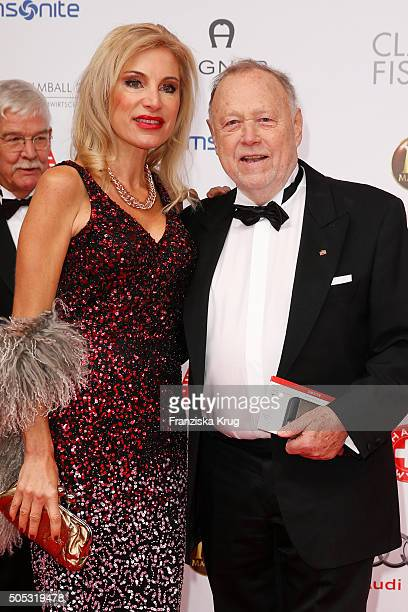 Joseph Vilsmaier and his partner Birgit Muth during the German Film Ball 2016 at Hotel Bayerischer Hof on January 16, 2016 in Munich, Germany.