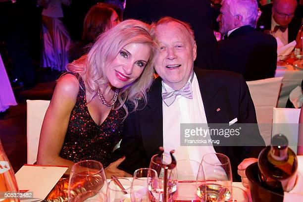 Joseph Vilsmaier and his partner Birgit Muth during the German Film Ball 2016 at Hotel Bayerischer Hof on January 16 2016 in Munich Germany