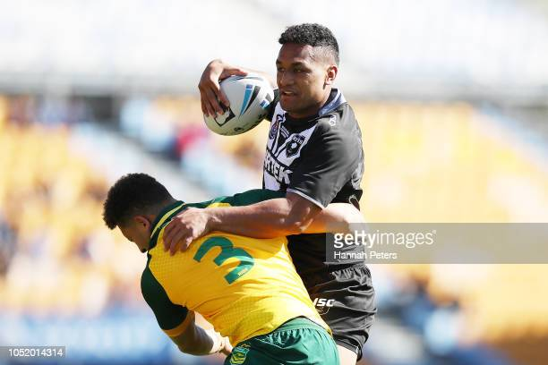 Joseph Vuna of the Junior Kiwis charges forward during the international Rugby League Test Match between the New Zealand Juniors and the Australia...