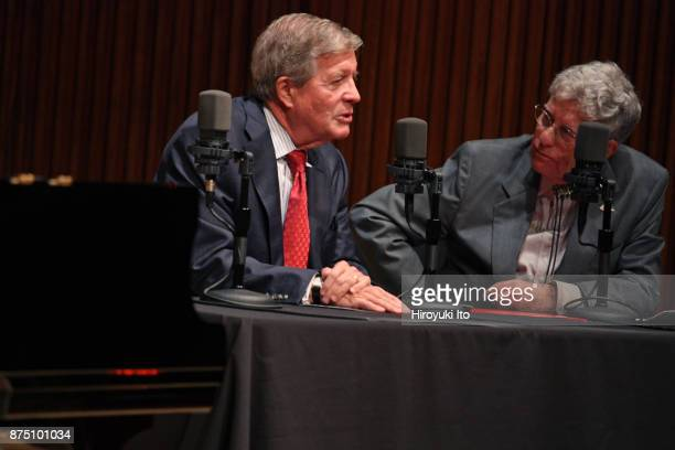Joseph W Polisi the president of the Juilliard School left being interviewed by the radio host Robert Sherman at Paul Hall at the Juilliard School on...