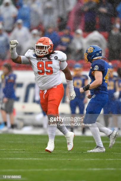 Joseph Wallace of the Sam Houston State Bearkats reacts to a defensive stop against the South Dakota State Jackrabbits during the first quarterduring...