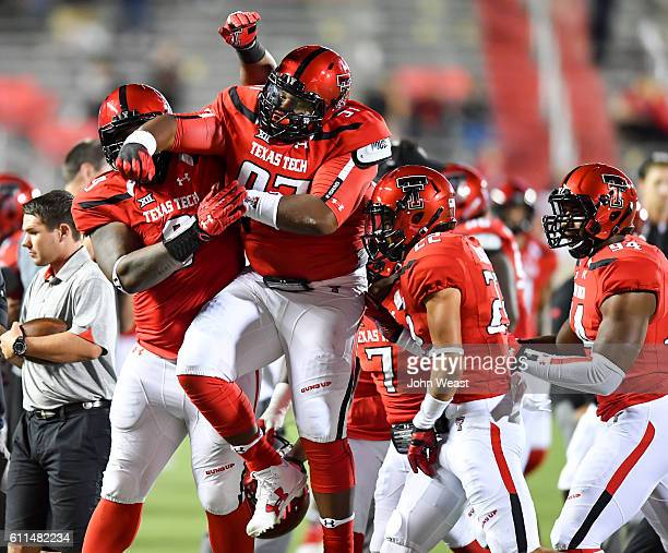 Joseph Wallace of the Texas Tech Red Raiders celebrates his fumble recovery during the game against the Kansas Jayhawks on September 29 2016 at ATT...