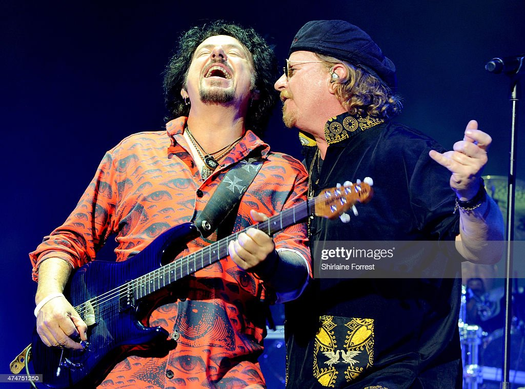 Joseph Williams and Steve Lukather of Toto perform at O2 Apollo Manchester on May 25, 2015 in Manchester, England.