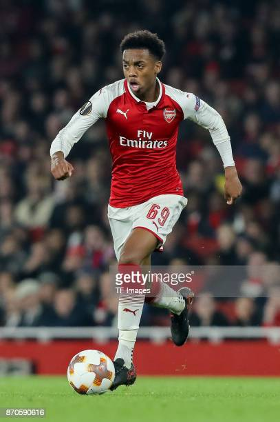 Joseph Willock of Arsenal controls the ball during UEFA Europa League Group H match between Arsenal and Red Star Belgrade at The Emirates London 2...