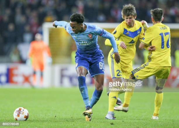 Joseph Willock of Arsenal FC in action against Dmitri Baga of BATE Borisov during the UEFA Europa League group H match between BATE Borisov and...