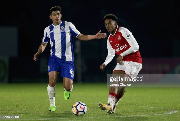 Joseph Willock of Arsenal in action during the Premier League International Cup match between Arsenal and Porto at Meadow Park on November 17 2017 in...