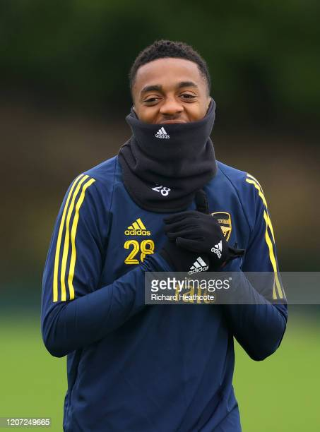 Joseph Willock of Arsenal looks on during a Arsenal Training Session at London Colney on February 19 2020 in St Albans England