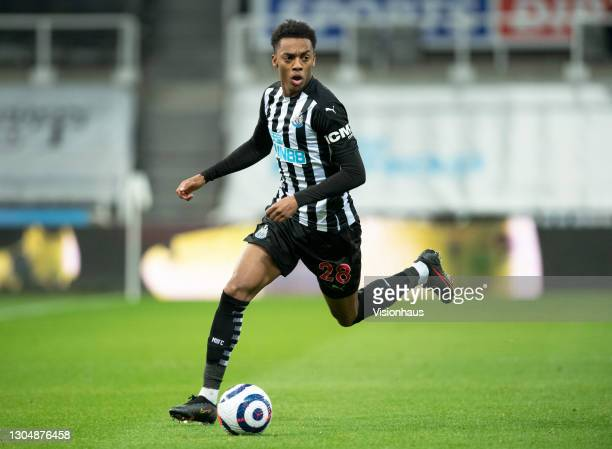 Joseph Willock of Newcastle United in action during the Premier League match between Newcastle United and Wolverhampton Wanderers at St. James Park...
